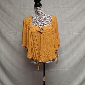 Golden yellow takara bohemian blouse